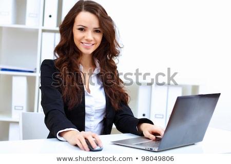 Fiatal nő notebook izolált fehér számítógép Stock fotó © julenochek