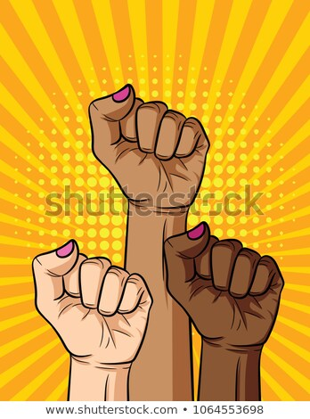 Punching fist in pop art style isolated on white background. Pow Stock photo © masay256