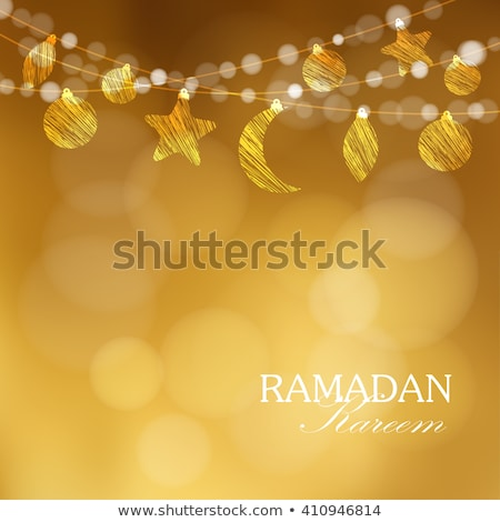 beautiful golden moon on bokeh background, eid festival greeting Stock photo © SArts