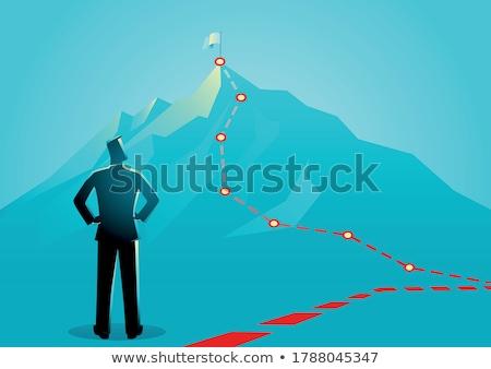 Zakenman vlag succes Rood missie Stockfoto © Andrei_