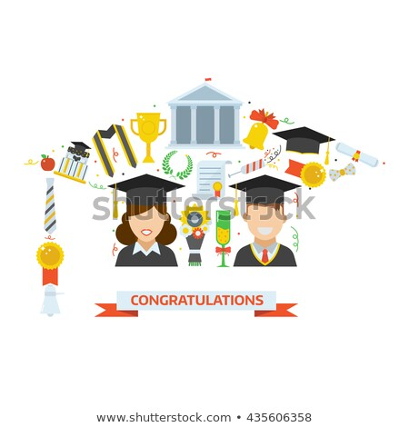 Congratulations card template with man in graduation gown Stock photo © bluering