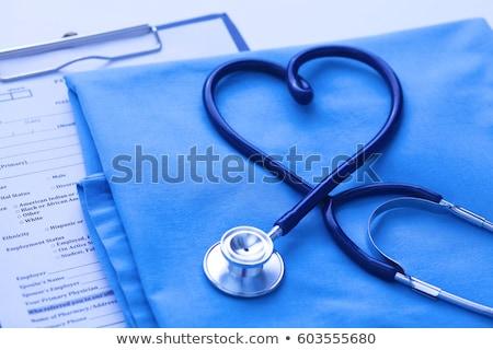 Diagnóstico médico turva texto estetoscópio pílulas Foto stock © tashatuvango