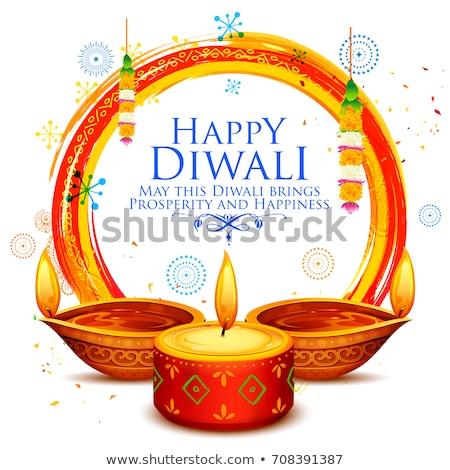 creative illustration of diwali festival of light with burning c Stock photo © SArts