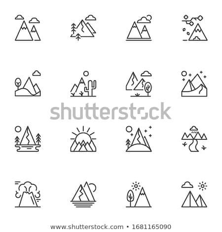 Icône montagnes linéaire style sport paysage Photo stock © Olena