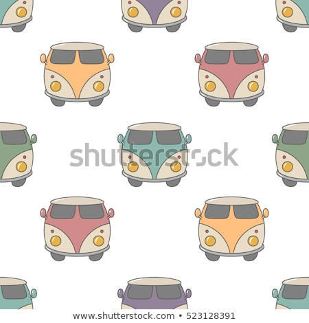 Surfing old style car pattern design. Summer seamless wallpaper with surfer van. Monochrome combi ca Stock photo © JeksonGraphics