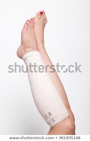 лодыжка · женщину · белый · эластичный · повязка · девушки - Сток-фото © traimak