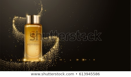 Gold Cosmetics Vector realistic package ads template. Face and body cream products bottles. Mockup 3 Stock photo © frimufilms
