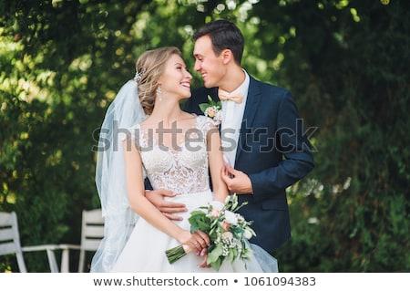 Foto d'archivio: Ritratto · sposa · lo · sposo · giardino · fiore · wedding