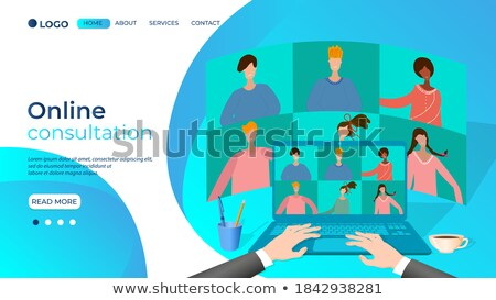 landing page of laptop with global solutions concept 3d stock photo © tashatuvango