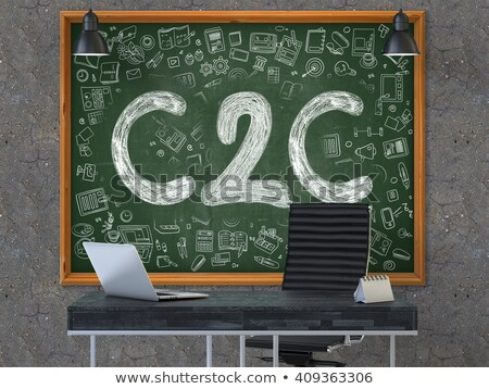 c2c concept doodle icons on chalkboard stock photo © tashatuvango