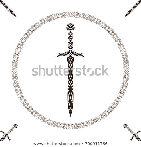 Celtic zwaarden paar oude frame patroon Stockfoto © sharpner