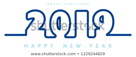 vector merry christmas illustration with 3d typography design and holiday light garland on shiny blu stock photo © articular