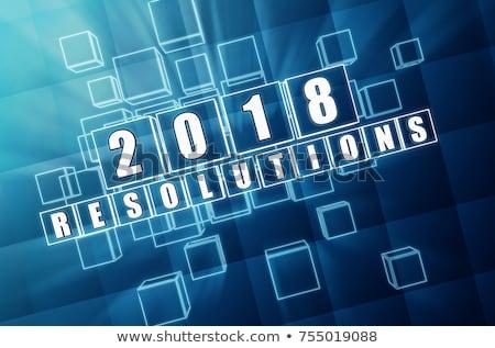 new year 2018 resolutions in blue glass blocks Stock photo © marinini