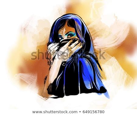 vector burqa style beautiful arabic muslim woman in burqa   ill stock photo © nikodzhi