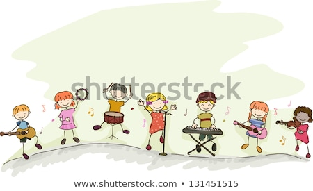 Stickman Kids Play Instruments Stock photo © lenm