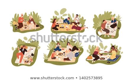 Ragazzi Coppia picnic data romantica illustrazione Foto d'archivio © lenm