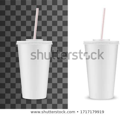 papel · fast-food · copo · vermelho · tubo · isolado - foto stock © smoki