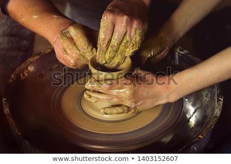 mãos · pote · tradicional · estilo · homem - foto stock © 5xinc