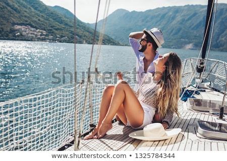 リラックス ヨット 笑みを浮かべて 楽しい セーリング ストックフォト © IS2
