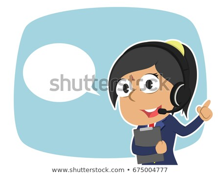 Indian business woman talking the phone flat cartoon vector illu Stock photo © NikoDzhi