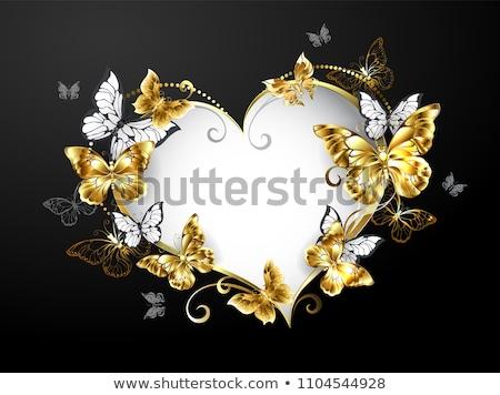 Coração ouro borboletas bandeira forma decorado Foto stock © blackmoon979