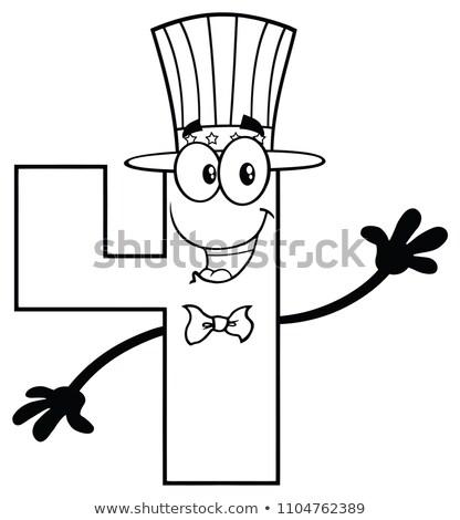 Czarno białe numer cztery maskotka cartoon charakter Zdjęcia stock © hittoon