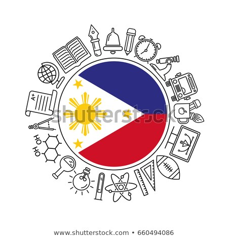 philippines flag vector illustration isolated on modern background with shadow stock photo © kyryloff