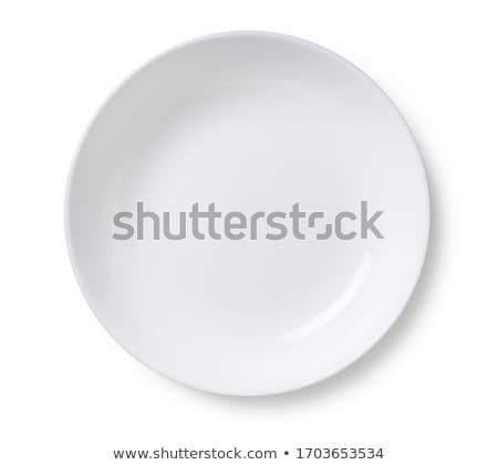 Beyaz boş plaka eski ahşap masa mavi Stok fotoğraf © Melnyk