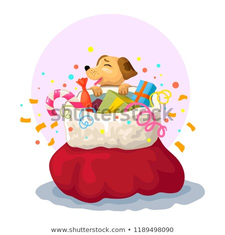 New year or Christmas greeting card with dog, bag and pile of gold coins stock photo © heliburcka