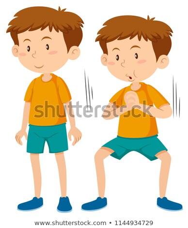Boy doing squat execerise Stock photo © bluering