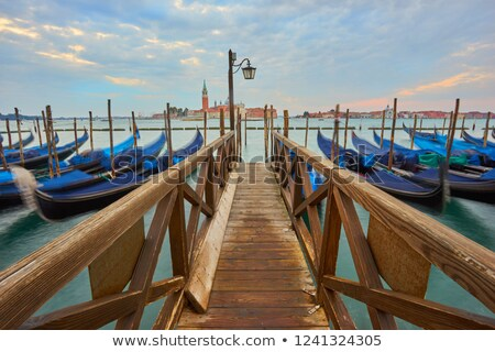Houten pier Venetië Italië hemel wolken Stockfoto © Givaga