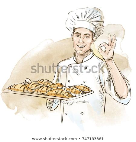 Baker homme dessinés à la main blanche alimentaire Photo stock © NikoDzhi