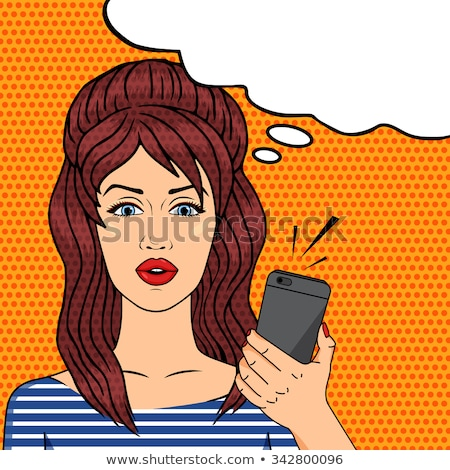 Angry pop art woman chatting on retro phone. Comic woman . Pin u Stock photo © balasoiu