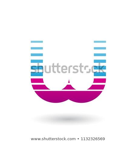 Azul magenta letra w ícone horizontal Foto stock © cidepix