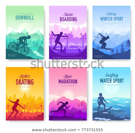 colorful covers with various sports rest day vector brochure cards set. Extreme on nature template o Stock photo © Linetale