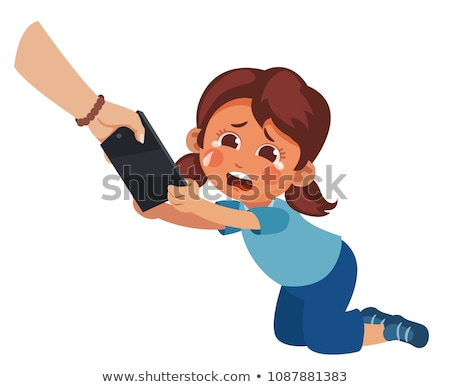 Children s Gadget Dependence Vector. Mother Takes Smartphone From Daughter. Parental Upbringing. Iso Stock photo © pikepicture