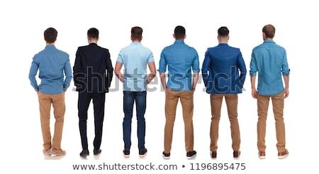 elegante · hombre · azul · camisa · jeans - foto stock © feedough
