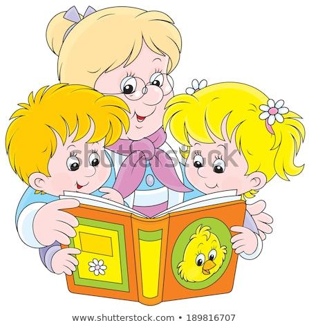 Büyükanne okuma kitap torunlar vektör yalıtılmış Stok fotoğraf © pikepicture
