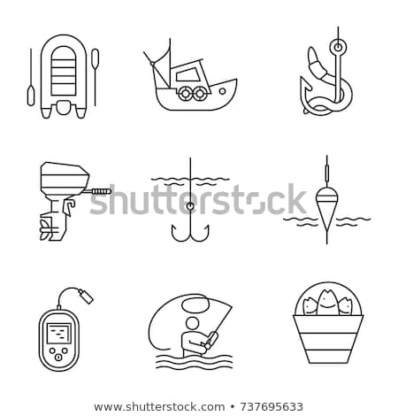 Fishermen Fishing from Motor Boat Vector Icon Stock photo © robuart