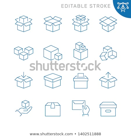 set of cardboard boxes from thin lines vector illustration stock photo © kup1984