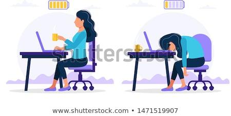 Cartoon · девушки · исчерпанный · иллюстрация · работает · глядя - Сток-фото © cthoman