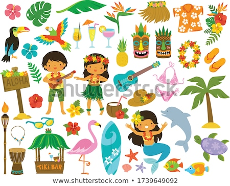 Cartoon Hawaii illustratie glimlachend grafische Stockfoto © cthoman