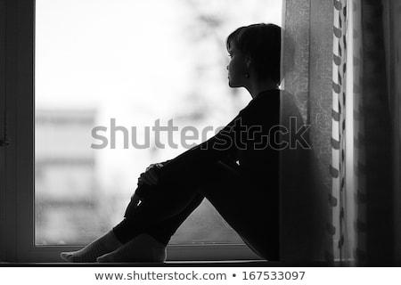 seduta · adolescente · ragazza · bella · bruna · occhiali - foto d'archivio © bluering