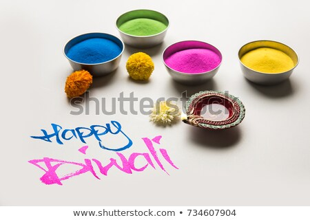 yellow happy diwali background with two diya Stock photo © SArts