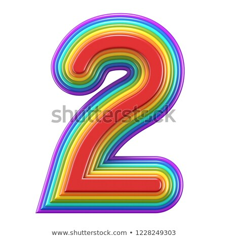 Concentric rainbow number 2 TWO 3D Stock photo © djmilic
