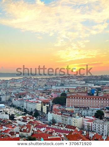 Lisboa Portugal panorámica vista hermosa puesta de sol Foto stock © joyr