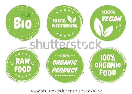 Bio Product, eco organic leaf emblem, sticker or logo. Vector illustration isolated on white backgro Stock photo © kyryloff