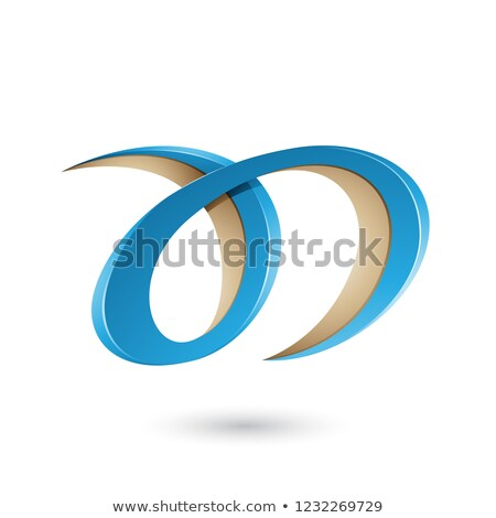 Blue and Beige Curvy Letter A and D Vector Illustration Stock photo © cidepix