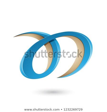 Azul bege letra d vetor ilustração isolado Foto stock © cidepix