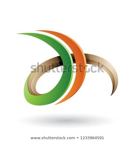 Narancs zöld 3D fürtös d betű vektor Stock fotó © cidepix